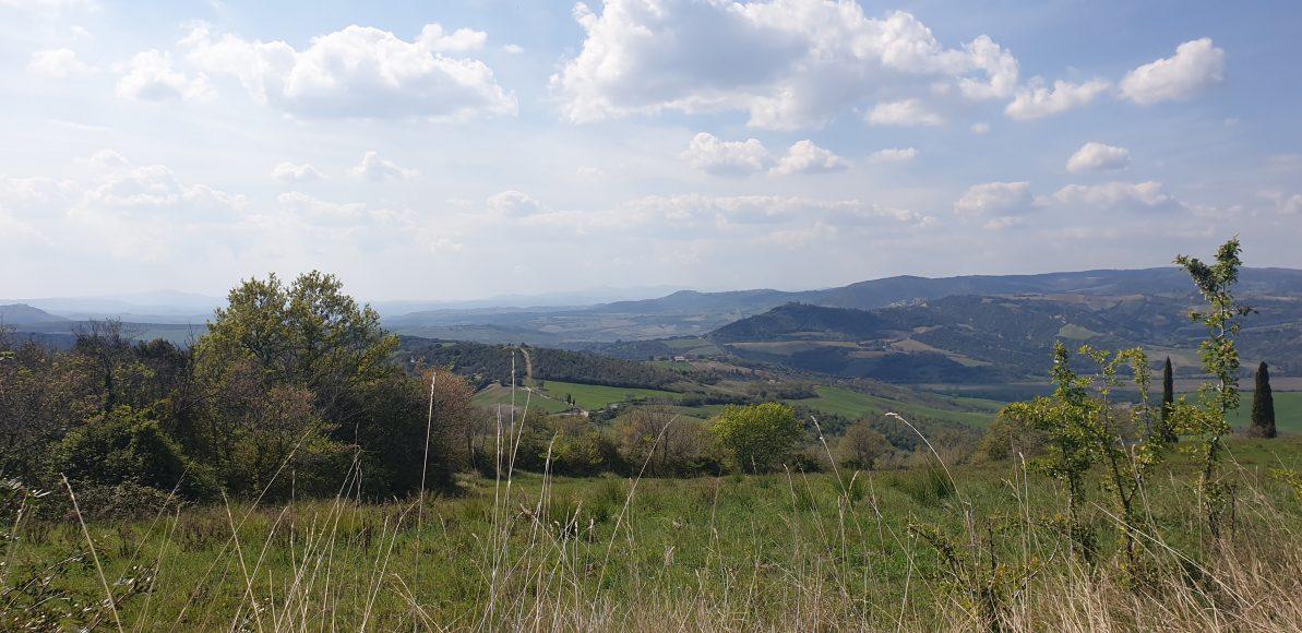 Blick über die hügelige Landschaft der Toskana